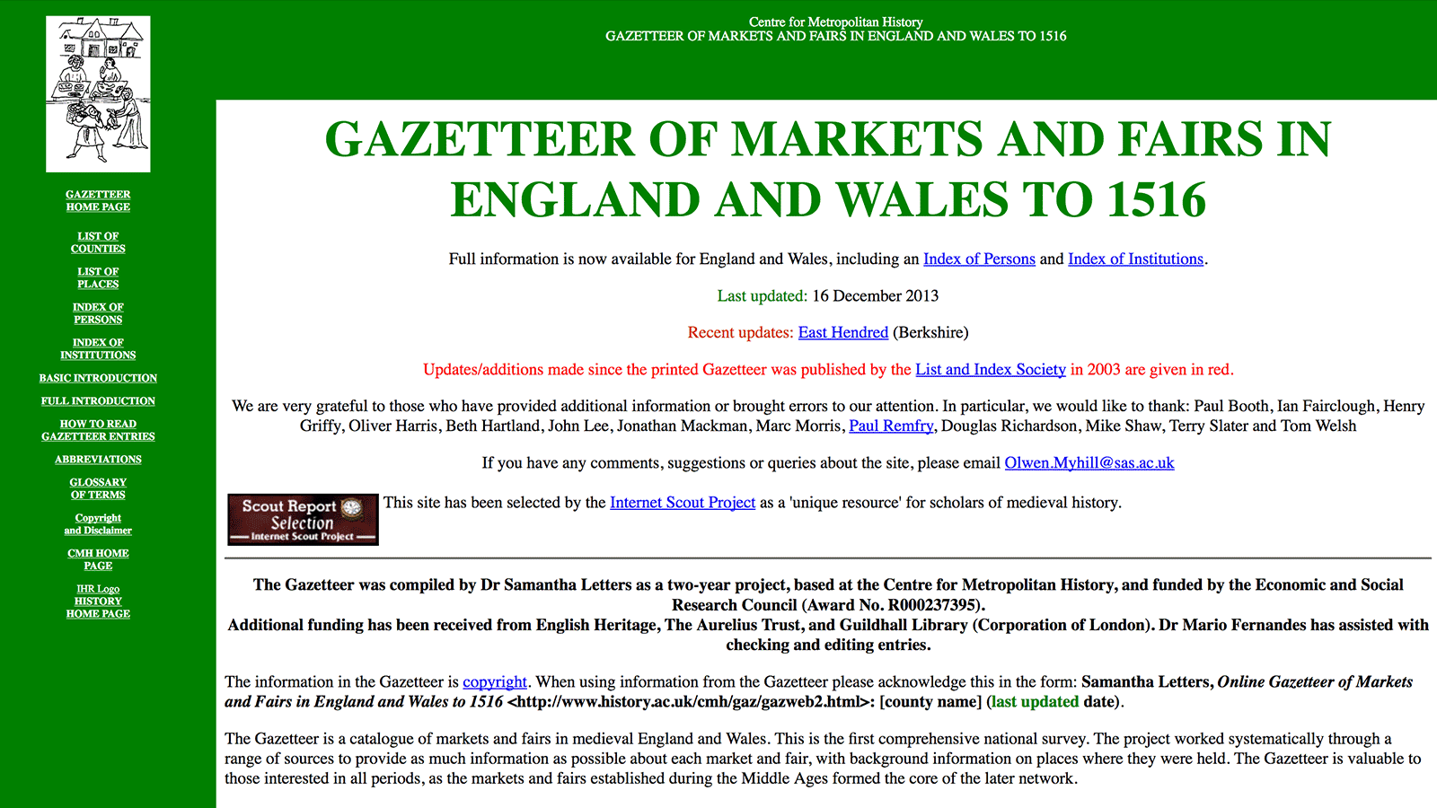 Gazetteer of Markets ad Fairs in England and Wales to 1516