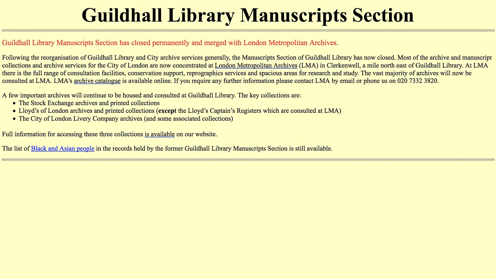 Guildhall Library Manuscripts Section
